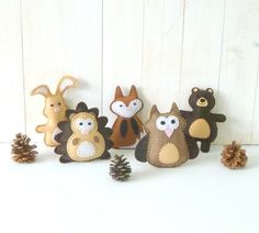 Woodland Animal Sewing Patterns, Mini Woodland Softies, Small Felt Stuffies…
