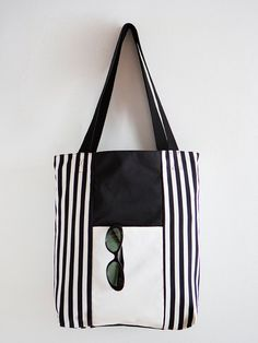 Black and white striped Tote Bag by Brilla Design Visit my blog at https://brilladesign.wordpress.com/