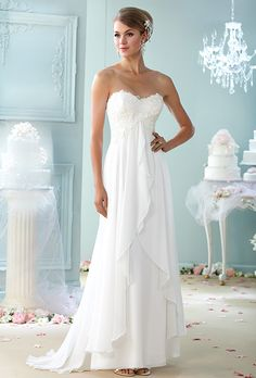 Brides  Enchanting by Mon Cheri. Lace and chiffon A-line gown with  sweetheart 9d5bc5238c59