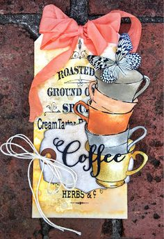 Handmade mixed-media coffee tag by Autumn Clark using the Coffee Word Die from Verve. #vervestamps