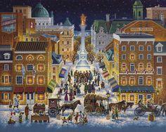 Old Montreal, Montreal Quebec, Montreal Canada, City Pages, Thomas Kinkade, Cartoon Art Styles, Naive Art, Parcs, Illustrations