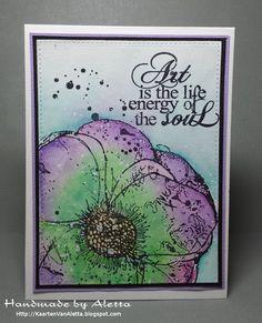 """UNITY stamps ingekleurd met Faber Castell watercolour pencils """"albrecht durer""""."""