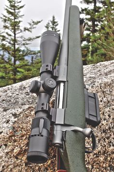 the Alpine MountAin rifle is bAsed on the rugged And dependAble howA M1500 Action And h.A.c.t. trigger thAt we've grown to know And love—shown here with the optionAl vortex 3-9x40 viper scope And rings. 2) the rifle's weAtherproof coMposite stock gets A textured od-green/speckled finish, duAl sling swivel studs And A one-inch pAchMAyr decelerAtor recoil pAd. Lever Action Rifles, Bolt Action Rifle, Weapons Guns, Guns And Ammo, Bushcraft, Scout Rifle, Alpine Mountain, Military Guns, Hunting Rifles
