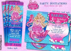Image Result For Mermaid Party Invitations Barbie Birthday Theme 5th