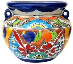 Hand crafted talavera flower planters from Mexico are used for decorating verandas, gardens and outdoor patios red, white and dark blue planter contrasts well with all kinds of flowers. Mexican Art, Mexican Style, Flower Planters, Flower Pots, Paint Garden Pots, Paper Mache Bowls, Mexican Ceramics, Mexican Clay Pots, Mexican Flowers
