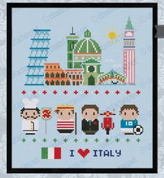 Italia icons - Mini people around the world
