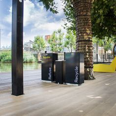 Spencer Litter bin and recycling bin for external public walkways. Urban Furniture, Street Furniture, Lighting System, Lighting Solutions, Cycle Shelters, Cycle Stand, Outdoor Fitness Equipment, External Lighting, Public Realm