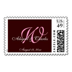 Chocolate Rose Monogrammed Wedding Postage This site is will advise you where to buyThis Deals          Chocolate Rose Monogrammed Wedding Postage Here a great deal...