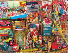 """""""Antique Toys"""" ~ a 1000 piece jigsaw puzzle by White Mountain Puzzles. Artist Jim Wallace"""