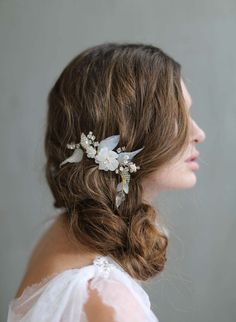 Bridal hair comb -Dreamy opaline flora hair comb - Style 717 - Made to Order