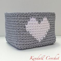 Square Tapestry Crochet Basket made with t-shirt yarn. No pattern, just the perfect inspiration.