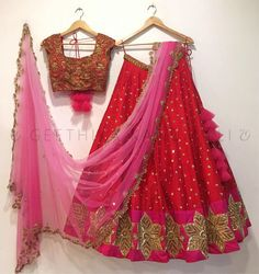 Looking for half saree color combinations ? Check out 21 cool looking half saree designs with trending colors and modern appeal. Indian Lehenga, Half Saree Lehenga, Lehnga Dress, Bollywood Lehenga, Silk Lehenga, Bollywood Style, Indian Wedding Gowns, Indian Bridal Fashion, Indian Dresses