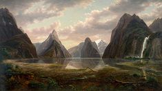 Milford Sound, New Zealand, 1877 - Photo of a painting by Eugene von Guérard in the Art Gallery of NSW, Sydney The Places Youll Go, Places To See, Joseph, New Zealand Landscape, Milford Sound, Milford Track, Fjord, New Zealand Travel, South Island