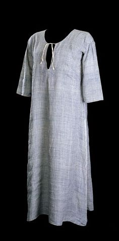 This bathing gown is a rare example of the survival of a complete garment worn by Martha Washington. The gown, made of blue and white linen with lead weights sown into the hem for modesty, was probably worn by Martha on a 1769 trip to the mineral waters in Berkeley Springs, Virginia. The trip was primarily for the benefit of Martha's daughter Patsy; it was hoped the waters would help cure her epilepsy (image courtesy of Mount Vernon Ladies' Association).
