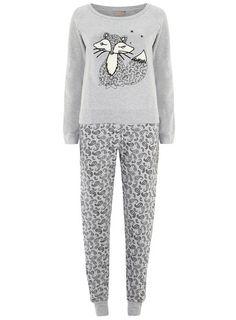 Grey Fox Print Cosy Pyjamas