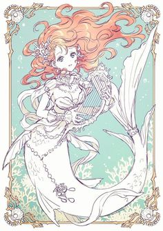 Nardack🦋 on - Upload Box M Anime, Anime Art Girl, Manga Art, Anime Mermaid, Mermaid Art, Tattoo Mermaid, Vintage Mermaid, Mermaid Drawings, Disney Drawings