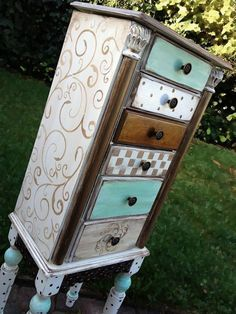 Jewelry Armoire hand painted shabby chic with by accentbydesign, $325.00 #shabbychicbedroomsfurniture