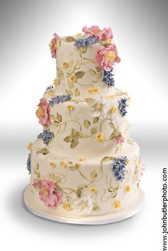 Lovely wedding cake with sugar flowers and hand-painted vines