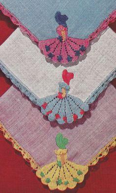crochet edgings  @Af's collection Vintage Crochet Pattern Crinoline Lady Handkerchiefs | eBay