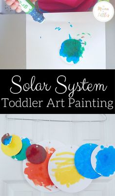 Express creativity while also introducing the names of the planets and identifying each planet& unique colors to toddlers with this solar system painting activity Color Activities For Toddlers, Planets Activities, Earth Day Activities, Preschool Activities, Space Preschool, Indoor Activities, Educational Activities, Solar System For Kids, Solar System Art