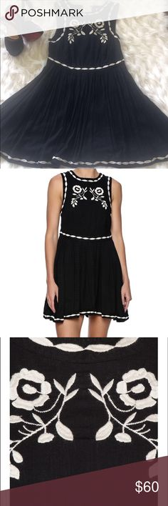 Free people delightful birds of feather in black Lightweight mini dress elevated with intricate folk-inspired embroidery and a floaty skirt tailored with crisp accordion pleats. The flirtatious look is cut with a sophisticated keyhole in back. Free People Dresses Mini