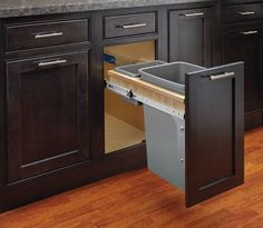 Rev-A-Shelf 4WCTM-12INDM-1 4WCTM Top Mount Single Bin Trash Can with Soft Close Silver Trash Cans 1 Bin Pull Out