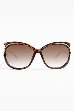 'Arden' Oversized Gold Accent Sunglasses - Tortoise - 5501-2