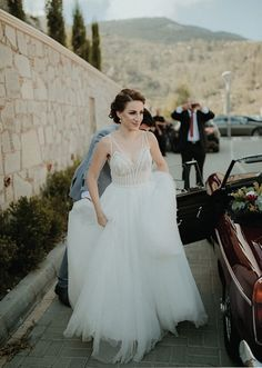 Get inspired for your big day while scrolling through these gorgeous brides wearing their favorite bridal masterpiece made by fashion designer Stalo Theodorou. St Brides, Wedding Bride, Wedding Dresses, Beautiful Couple, Dress Making, Real Weddings, One Shoulder Wedding Dress, Greece, Destination Wedding