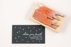 Custom Dotty Calligraphy Business Card Stamp from Ampersandity | So clever!