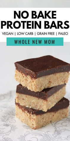 Recipes Snacks Protein These soft and chewy homemade no bake peanut butter protein bars are delicious and healthy for you! The recipe is Vegan, low carb, grain-free, and paleo! Get the recipe here for these no bake protein bars from Whole New Mom. Gluten Free Protein Bars, No Bake Protein Bars, Peanut Butter Protein Bars, Vegan Protein Bars, Protein Bar Recipes, No Bake Bars, Homemade Protein Bars, Protein Cake, Protein Muffins