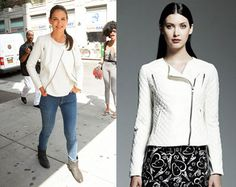 Katie Holmes White Quilted Moto Jacket - http://shetv.net/katie-holmes-white-quilted-moto-jacket/