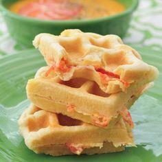 cheese & tomato stuffed waffles via spabettie