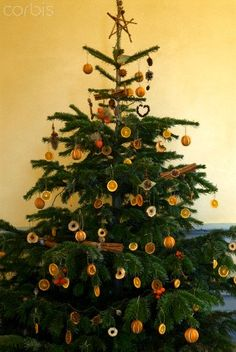 Christmas tree decorated with natural decorations, cinnamon bundles, Citrus slices, orange pomanders