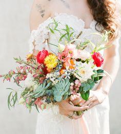 bright colorful ranunculus bouquet