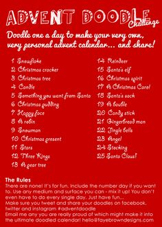 FayeBrownDesigns: Who's up for a Doodle challenge to create your own advent calendar? take pics of your doodles and share your creations.