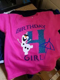 Custom Olaf Birthday Shirt. Girls Olaf Party. Glitter.