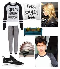 """""""Day in with Calum"""" by lukebrooksukgirl ❤ liked on Polyvore featuring NIKE and Haute House"""