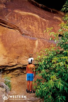 Hikers of all ages will be amazed when they stumble upon Native American petroglyphs on the Desolation Canyon rafting trips... #hiking #Utah