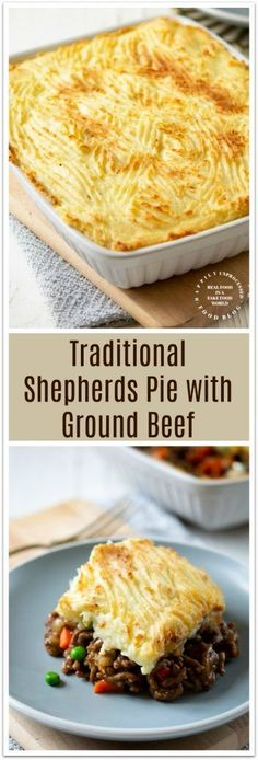 Traditional Shepherd's Pie with Ground Beef. Traditional Shepherd's Pie with Ground Beef - A traditional Irish dish made with ground beef and vegetables in a savory seasoned gravy topped with mashed potatoes. This Shepherds Pie is a quick and easy Easy Pie Recipes, Meat Recipes, Cooking Recipes, Dinner Recipes, Greek Recipes, Potato Recipes, Cooking Ideas, Pasta Recipes, Leftover Ground Beef Recipe