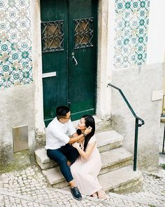 There's nothing like exploring Lisbon's narrow streets 💚 And tiles! Tile Stairs, Visit Portugal, Portuguese Tiles, Lisbon, Exploring, Wedding Planning, Around The Worlds, Wedding Inspiration, Couple Photos
