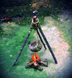 Faery Campfire with Tripod and Cooking Pot Custom Order fairy house fairy garden Waldorf natural materials woodland miniatures Fairy Village, Fairy Tree, Mini Fairy Garden, Fairy Garden Houses, Gnome Garden, Diy Fairy House, Fairies Garden, Fairy Crafts, Garden Crafts
