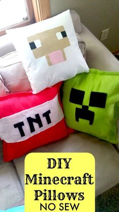 DIY Minecraft Pillows NO SEW Tutorial - Sheep, Creeper, and TNT Bomb - SO easy and she shows 2 different ways to make them! My kids will love this as a holiday gift for their bedroom! (Diy Art For Bedroom) Sewing Projects For Kids, Sewing For Kids, Diy For Kids, Diy Gifts For Kids, No Sew Projects, Art Projects, Minecraft Crafts, Minecraft Houses, Diy Minecraft Decorations