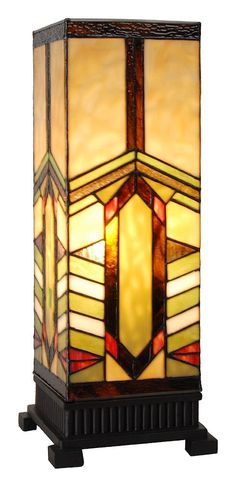 Stone Mountain Craftsman Stained Glass Pillar Lamp | 17.25 inches