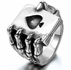Punk Gothic Skull Claw Heart Poker Biker Men Stainless Steel Ring Band Size 7-13 #bikers #skulls #gothic #jewellery Gothic Engagement Ring, Punk, Garra, Stainless Steel Rings, Band Rings, Vintage, Hip Hop, Rings For Men, Design