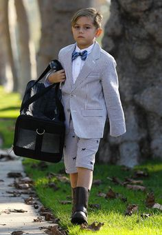 Kingston Rossdale is making this face because he is mad at his tailor, and rightfully so.