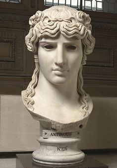 A mondragone colossal head of Antinous from a Roman villa near Frascati (130-138 AD).