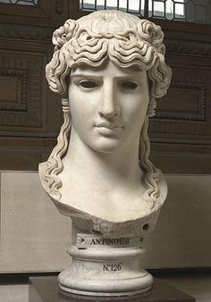 A mondragone colossal head of Antinous from a Roman villa near Frascati (130-138 AD).