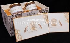 Gift packing material by Laxmi Singla Marriage Invitation Wordings, Marriage Cards, Wedding Invitation Wording, Hindu Wedding Cards, Wedding Card Design, Wedding Announcements, Save The Date Cards, Personalized Wedding, Boxes