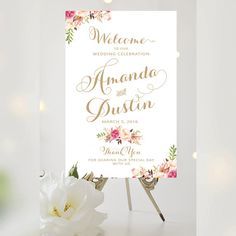 Wedding Welcome Sign - Large Wedding Poster - Romantic Blooms - Vintage Gold Script - Personalized - I Create and You Print #weddings #weddingsigns #bridal #bride
