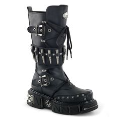 Demonia DMA-3002 Black Bullet Strap Men's Gothic Boots - Demonia Shoes at Sinister Soles